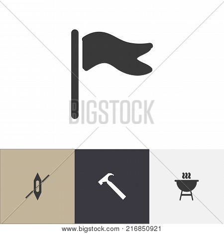 Set Of 4 Editable Travel Icons. Includes Symbols Such As Boat, Pennant, Handle Hit