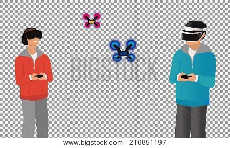A man flying drone with remote control on transparent background. Drone racing concept. Vector flat design illustration. -stock vector