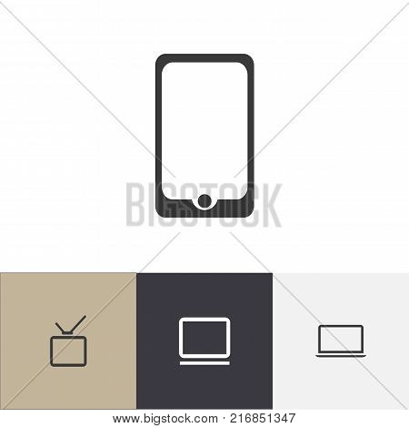 Set Of 4 Editable Gadget Icons. Includes Symbols Such As Touchscreen, Notebook, Telly And More