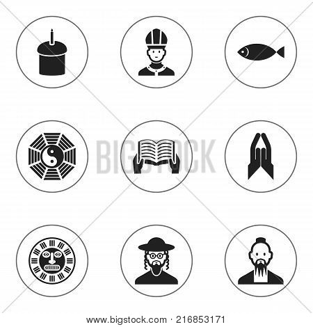 Set Of 9 Editable Faith Icons. Includes Symbols Such As Blessing, Fish, Hebrew And More