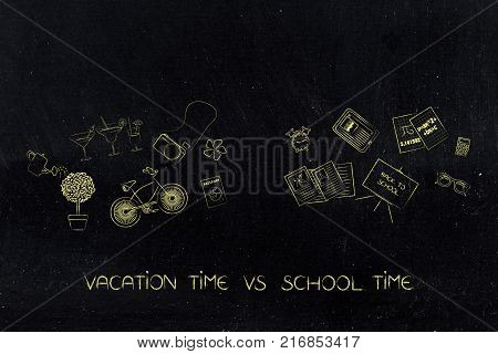 vaction vs school time: fun and study-related items in 2 groups