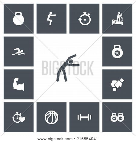 Set Of 13 Editable Lifestyle Icons. Includes Symbols Such As Heft, Exercise, Stopwatch And More