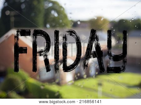 Announcement text caption showing Friday. Business concept for Friday - happy end of the week written on old brick background with space
