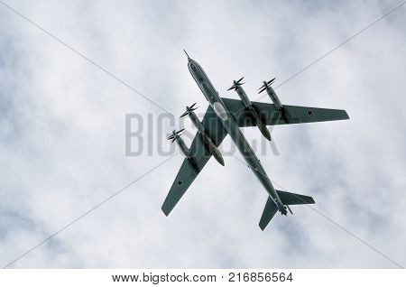 St. Petersburg, Russia -  July 30, 2017: aircraft of naval aviation Tu-95, in flight, Aviation parade at the air show.