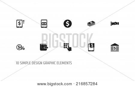 Set Of 10 Editable Banking Icons. Includes Symbols Such As Greenback, Cash Growth, Usa And More