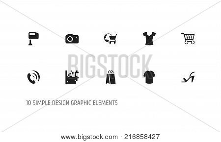 Set Of 10 Editable Shopping Icons. Includes Symbols Such As Photographing, Stir, Package And More