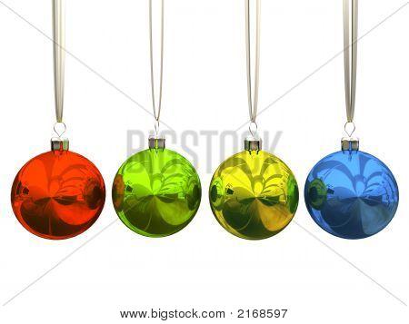 Bolas de Navidad multicolor aislados sobre fondo blanco