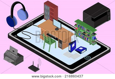 Infographic office on a cellphone. Isometric image of the workplace with table wardrobe bookshelf printer copier fax. Isolated. In vector