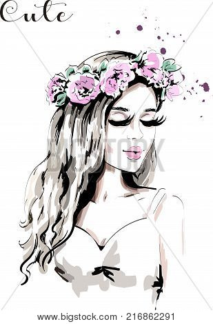 Beautiful young woman with flower wreath in her hair. Hand drawn woman portrait with curly hair. Cute girl. Sketch.