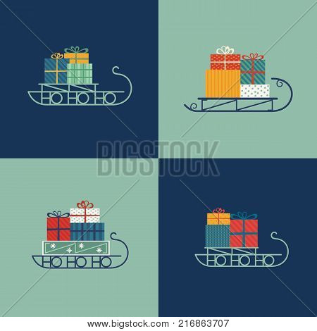 Santa Sleigh icon set. Christmas snow sledge with gifts present boxes. Flat simple minimal style in retro colors. Design element for winter holiday season new year event, greeting. Vector illustration