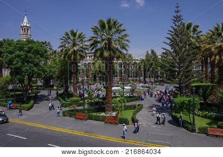Arequipa, Peru - January 2, 2014: Plaza de Armas square with Basilica Cathedral of Arequipa Arequipa city Peru