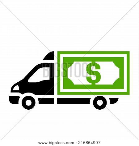 Delivery truck, flat green icon. Vector illustration