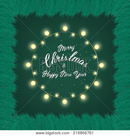 green christmas wreath with incandescent light string and pine tree branches vector template space