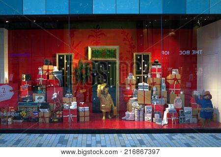Bracknell, England - Dec 05, 2017: Christmas window display of the Marks & Spencer department store in the new Lexicon shopping center in Bracknell, England