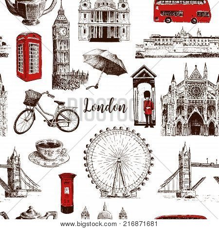 London architectural symbols: Big Ben, Tower Bridge, red bus, red mail box, call box, guardsman, english tea, umrella. Beautiful hand drawn vector seamless pattern sketch illustration. City panorama