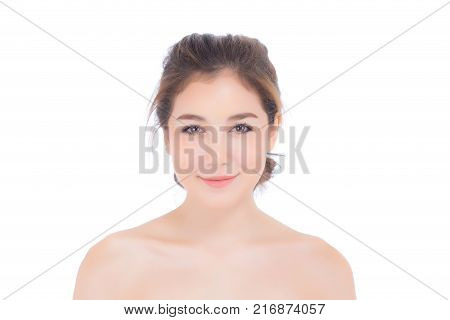 Beautiful Girl With Makeup, Woman And Skin Care Concept / Attractive Asian Girl Smilling On Face Iso