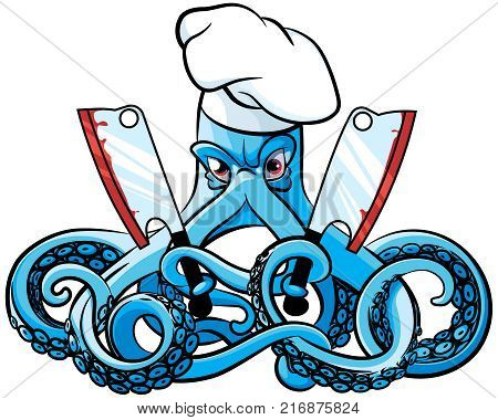 Vector colourful illustration of octopus in the chefs hat with two cleavers in his tentacles isolated on white background. File doesn't contains gradients blends transparency and strokes or other special visual effects.