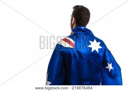 Australian fan celebrating on white background