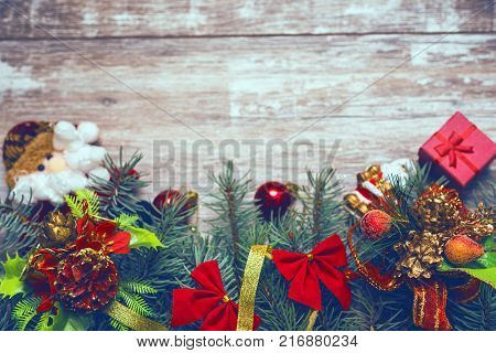 vintage christmas background fir tree branches on old boards new year background xmax