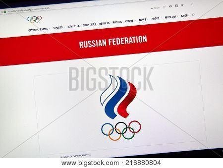 MONTREAL CANADA - DECEMBER 5 2017: International Olympic Committee official web page with logo Russian National Olympic Committee.