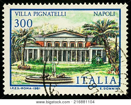 Moscow Russia - December 05 2017: A stamp printed in Italy shows Villa Pignatelli in Naples southern Italy series
