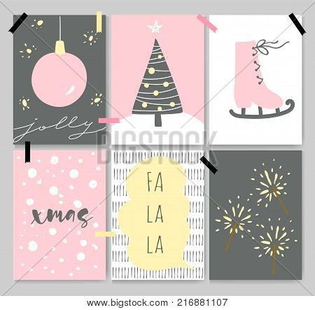 Winter cute artistic cards, posters, letterings. Pastel colors, cartoon style. Beautiful Christmas backgrounds with a xmas tree, ice skate, snow and Bengal fires.