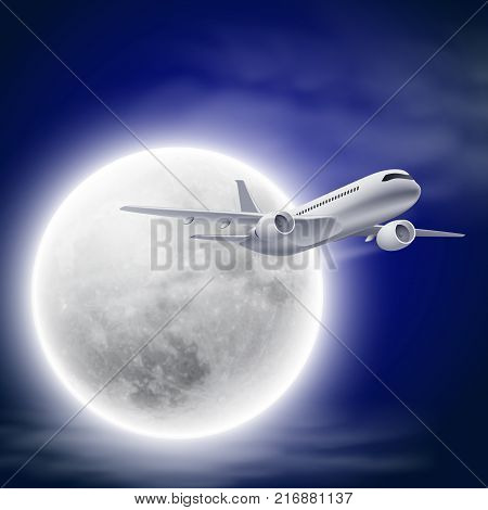 Airplane in the night sky with moon. EPS10 vector.