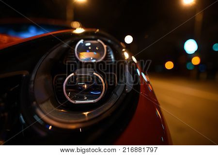 LED headlights of new generation cars at night