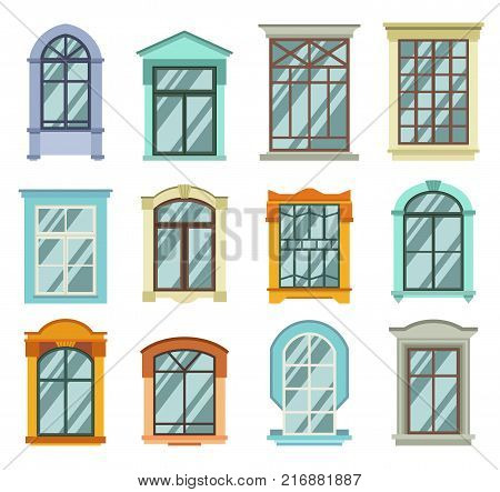 Retro wood or wooden window frames view isolated on house wall. Detailed plastic window with curtains or pot isolated. Architecture design outdoor or exterior view, building and home theme.