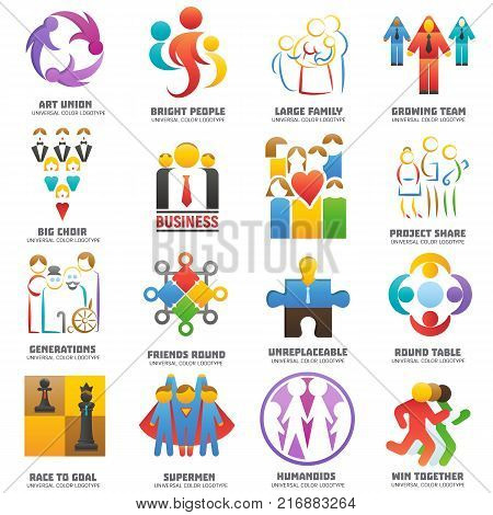 People team logo vector abstract group set teamwork union business logotype network teammate partnership illustration isolated on white background.