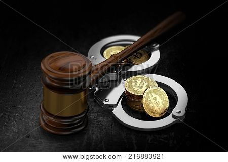 Wooden gavel and Bitcoin stacks in handcuffs. Possible scenario of global BTC prohibition concept. 3D rendering