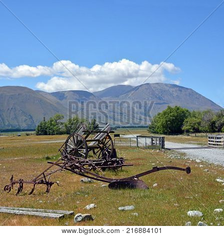 Historic farm equipment at Mesopotamia Station in the Southern Alps of New Zealand.
