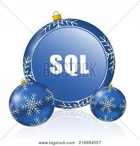 Sql blue christmas balls icon