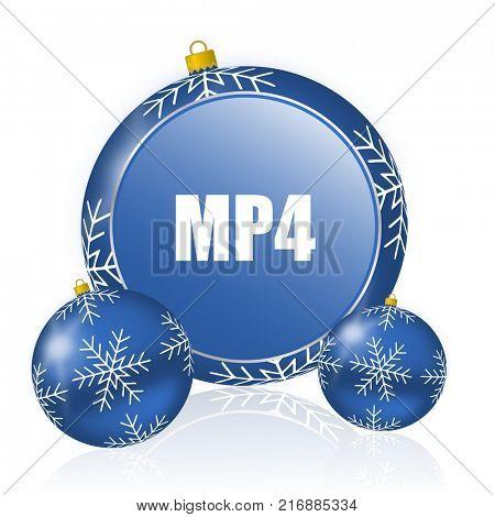 MP4 blue christmas balls icon