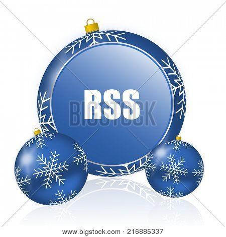 Rss blue christmas balls icon