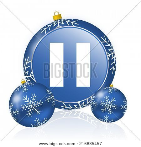 Pause blue christmas balls icon