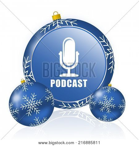 Podcast blue christmas balls icon