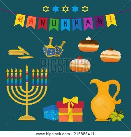 Jewish holiday of Hanukkah, Hanukkah menorah, sufganiyot doughnuts, dreidel spinning top, traditional holiday symbols set