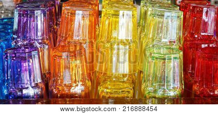 Colorful glasses stack