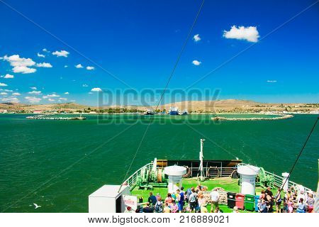 Russia Crimea Kerch Strait July 23 2016: people on the ferry crossing from the port of the Caucasus to the port of Crimea