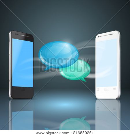 Mobile phones with glossy speech bubbles. EPS10 vector.