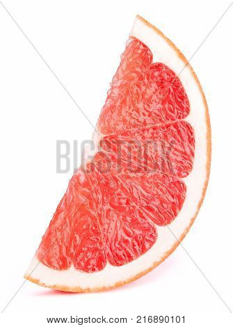 Grapefruit slice isolated on the white background with clipping path
