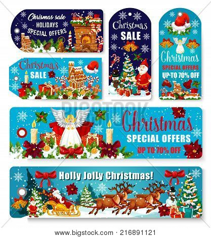 Christmas seasonal sale banners and special promo tags for winter holiday shopping. Vector design set of Xmas decoration and angel ornament, Santa with gifts in deer sleigh under Christmas tree