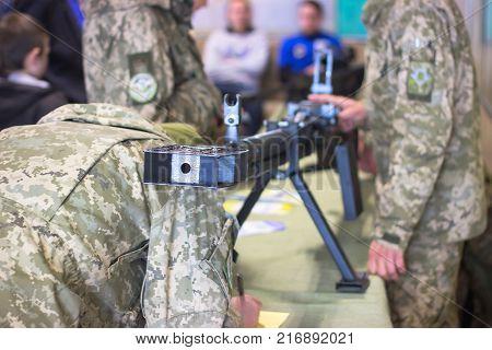 light machine gun with the cartridge belt