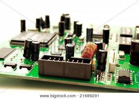 Foto Of Green Computer Circuit Board Transistors