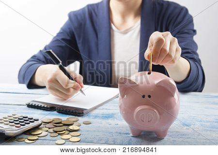 Hand putting coin into piggy bank closeup. selective focus