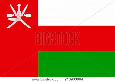 National flag of Oman. Vector illustration, template