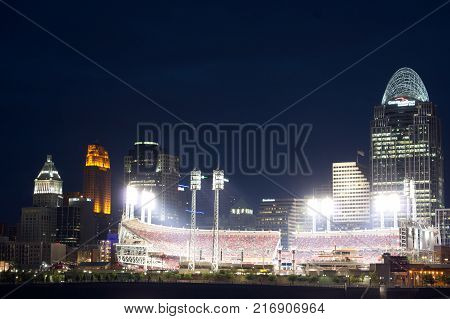 CINCINNATI, OHIO - AUGUST 2, 2013: Great American Ball Park at night, Home of the Reds baseball team