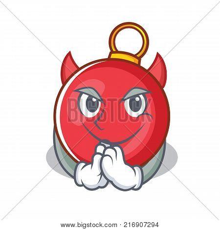 Devil Christmas ball character cartoon vector illustration