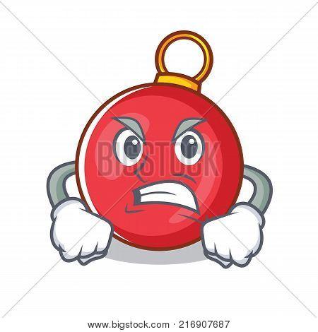Angry Christmas ball character cartoon vector illustration